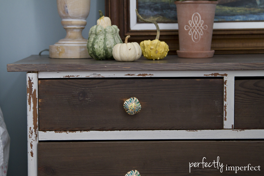Perfectly Imperfect Grain Sack chest Drawers Close Up