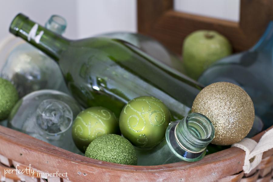 Perfectly Imperfect Basket Ornaments Vintage Bottles 2