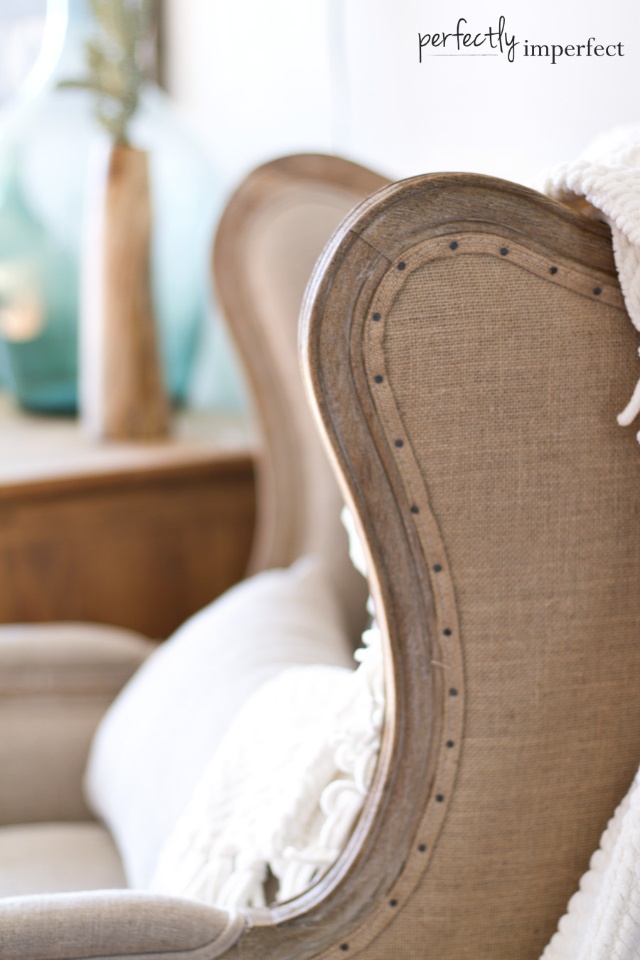 Perfectly Imperfect Linen Wingback Nailhead Trim
