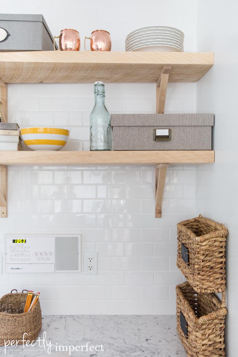 Kitchen Backsplash Shelves reclaimed wood shelving & the backsplash | perfectly imperfect™ blog