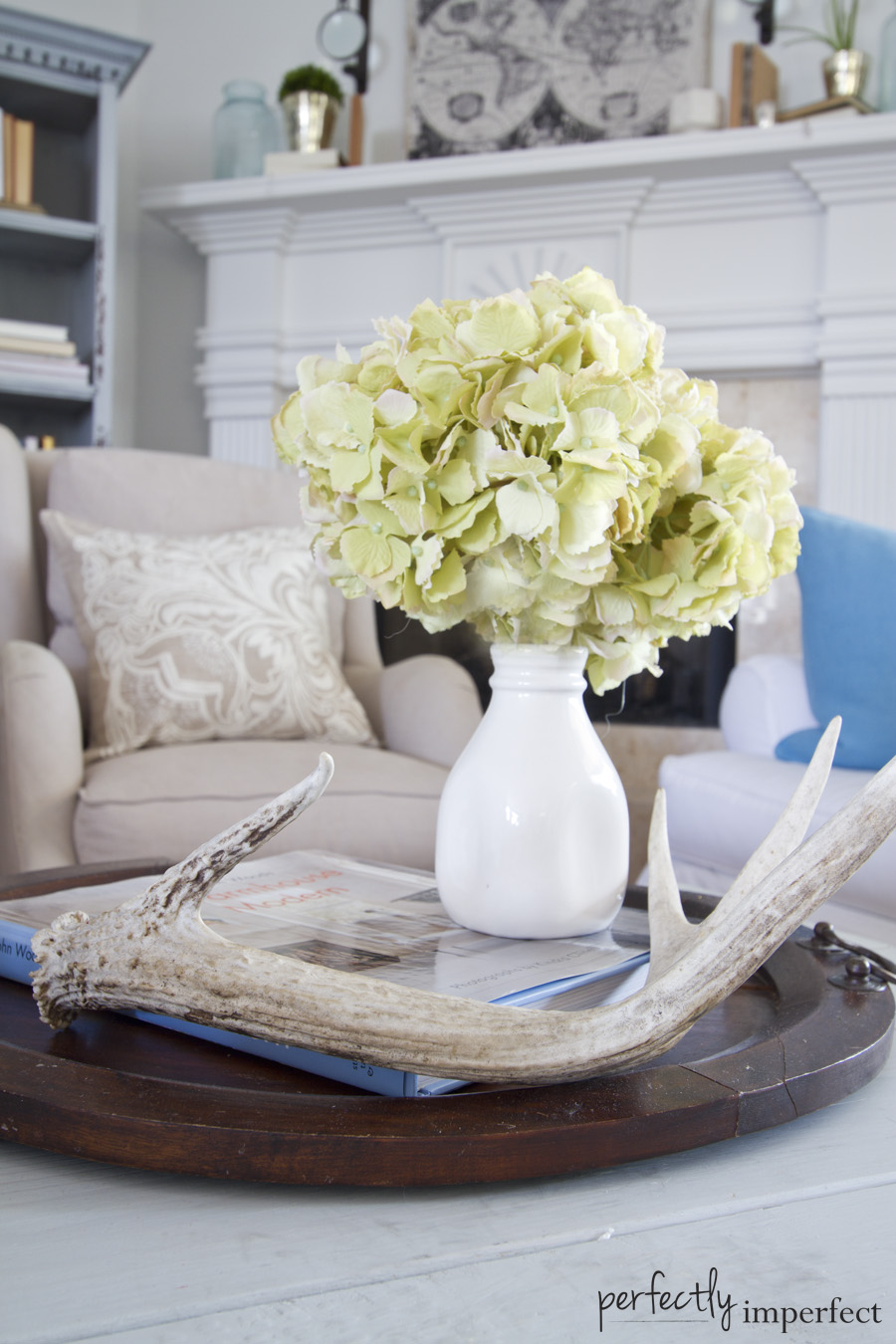 Perfectly Imperfect Faux Hydrangea Coffee Table Styling