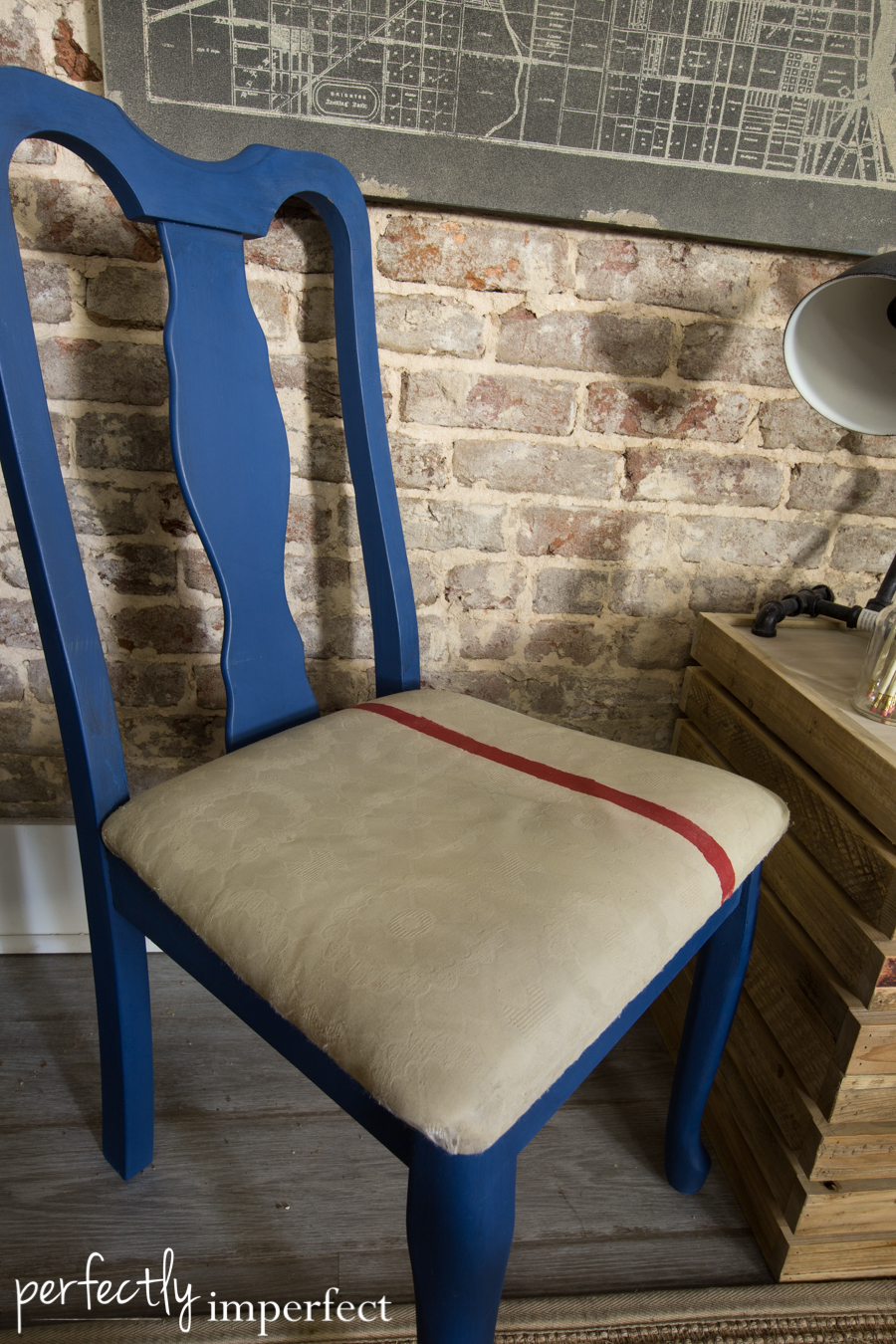 Perfectly Imperfect Napoleonic Blue Chair Makeover-7