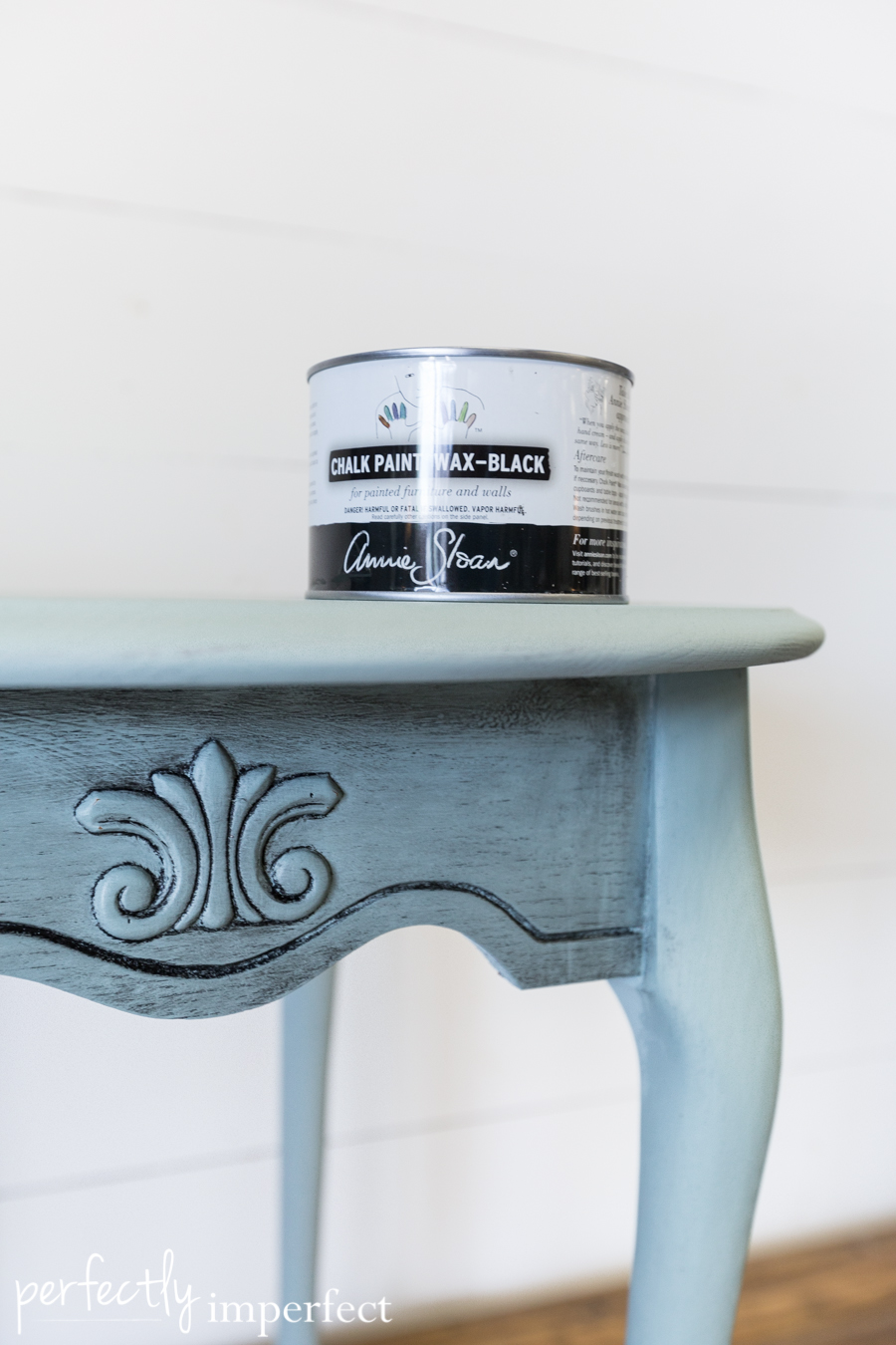 Perfectly Imperfect Chalk Paint Black Wax Makeover-2
