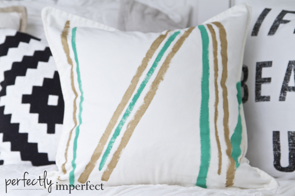 Perfectly Imperfect Painterly Pillow Emerald and Gold