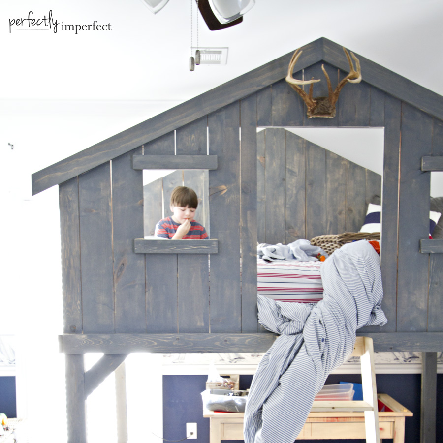 Boys Loft Fort Bed | DIY Loft Bed | Perfectly Imperfect™ Blog