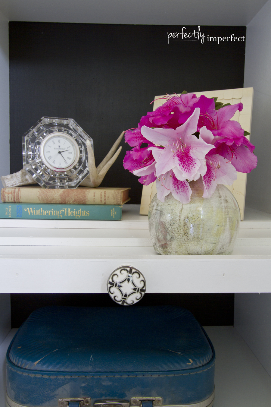 Perfectly Imperfect Glam Bedroom Bookcase Styling