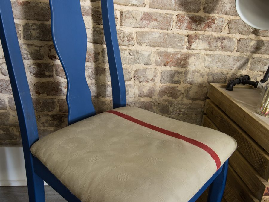 Napoleonic Blue Chair Makeover