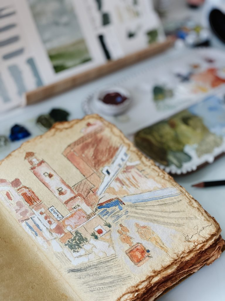 Creative Play in My Sketchbook   Watercolor Streetscape Time-lapse   Sketching   Watercolor Painting